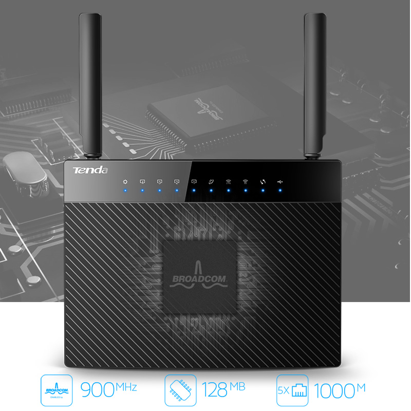 Tenda AC9 1200M Smart Dual-Band 802 11AC 2 4G/5GHz Gigabit Wireless WiFi  Router Repeater, Broadcom Chip, Multi-language Firmware